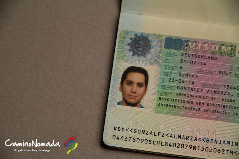 Mi visa Working Holiday para Alemania en mi pasaporte chileno.